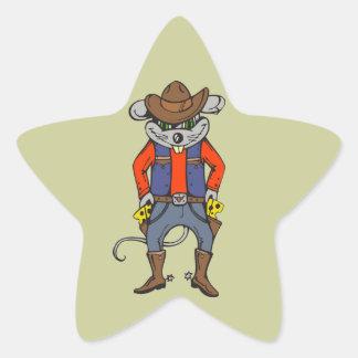 Ratón divertido del vaquero pegatina en forma de estrella