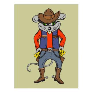 Ratón divertido del vaquero tarjeta postal