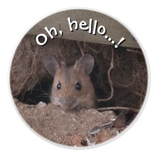 Ratón en agujero pomo de cerámica