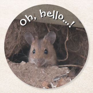 Ratón en agujero posavasos desechable redondo