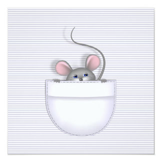 """Ratón en bolsillo invitación 5.25"""" x 5.25"""""""