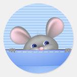 Ratón en bolsillo pegatina redonda