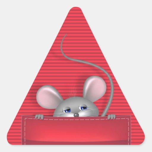 Ratón en bolsillo pegatina triangular