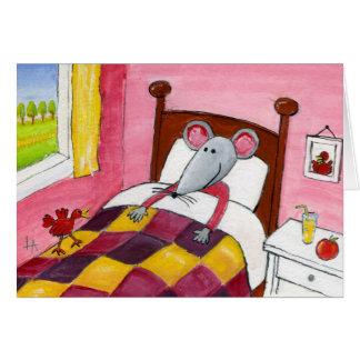 Ratón en cama - consiga la tarjeta bien