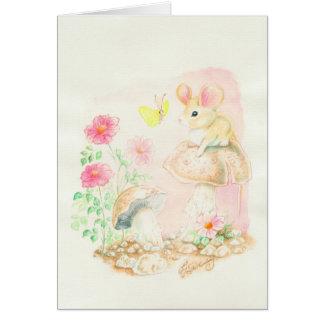 Ratón en el arte Potcards, tarjetas de la seta de