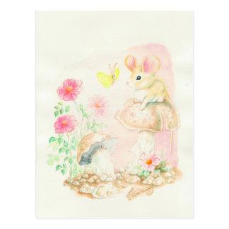 Ratón en el arte Potcards, tarjetas de la seta de Postal