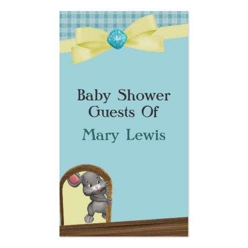 Ratón en fiesta de bienvenida al bebé, verde y ama tarjetas de visita