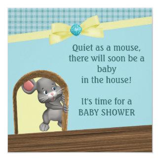 """Ratón en fiesta de bienvenida al bebé, verde y invitación 5.25"""" x 5.25"""""""