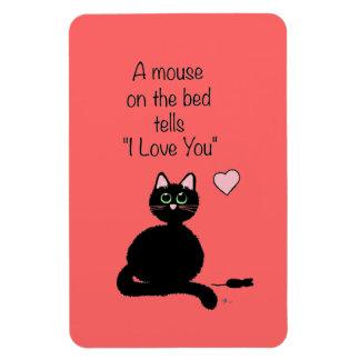 Ratón en la cama imán rectangular