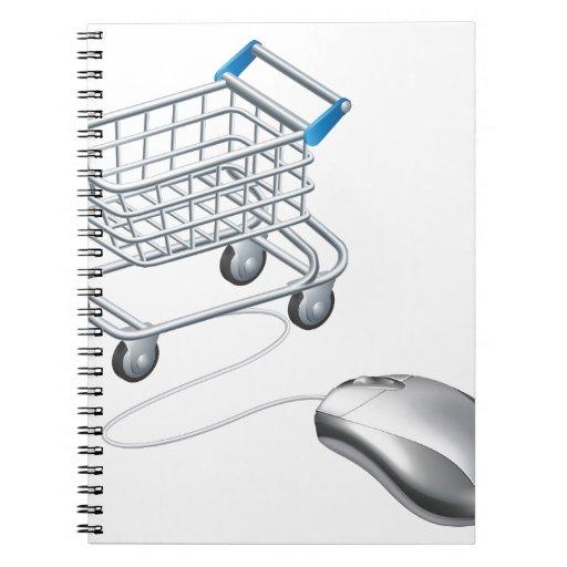 Ratón en línea del carro de la compra cuadernos