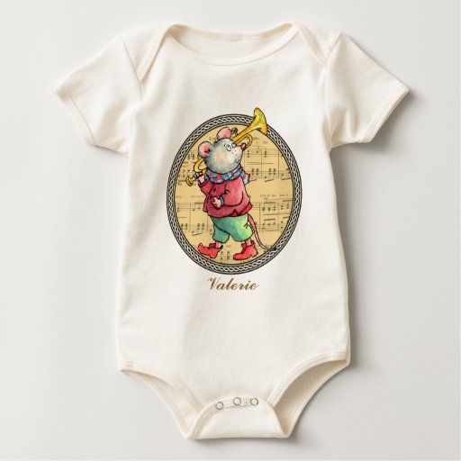 Ratón en partitura - enredadera de la trompeta del trajes de bebé