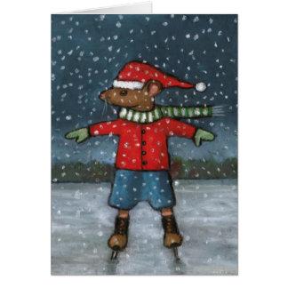 Ratón en patines: Nieve: ¡Estrella estupenda del f Tarjetas