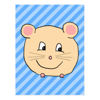 Ratón en rayas azules postal