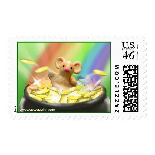 Ratón en sello de la mina de oro