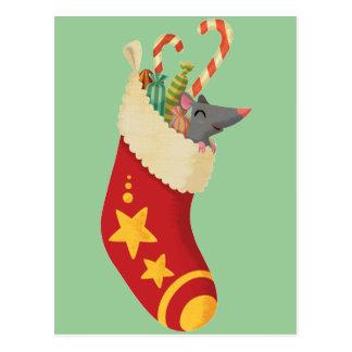 Ratón en un almacenamiento del navidad tarjeta postal