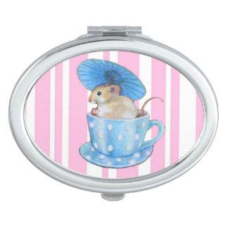 Ratón en un espejo del acuerdo de la taza de té espejos para el bolso