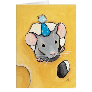 Ratón en un gorra azul del fiesta - tarjeta animal