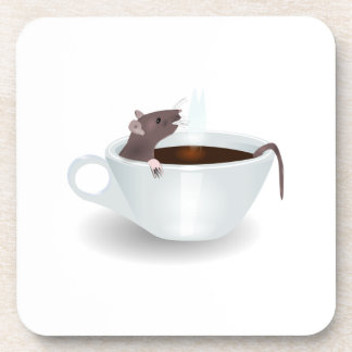 Ratón en una taza de café posavaso