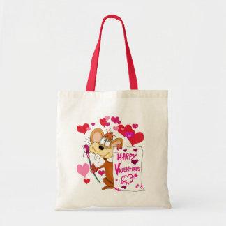 Ratón feliz del día de San Valentín Bolsas Lienzo