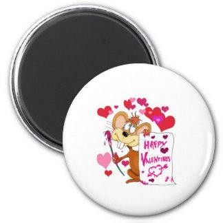 Ratón feliz del día de San Valentín Imán Para Frigorífico