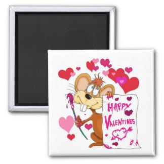 Ratón feliz del día de San Valentín Iman De Nevera