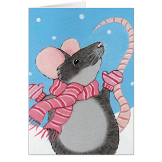 Ratón feliz en tarjeta de Navidad de la nieve