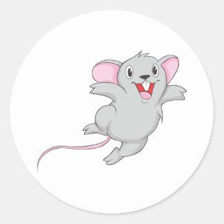 Ratón feliz pegatina redonda