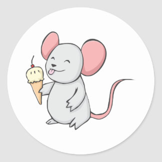 Ratón feliz que come el helado pegatina redonda