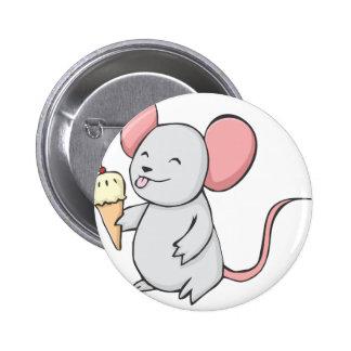Ratón feliz que come el helado pin redondo de 2 pulgadas
