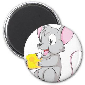 Ratón feliz que come el queso imán redondo 5 cm