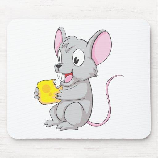 Ratón feliz que come el queso tapete de raton