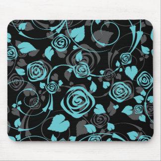 Ratón floral color de rosa negro y azul elegante d tapetes de raton