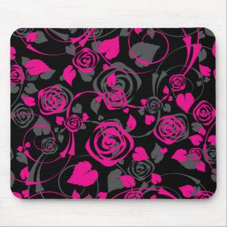 Ratón floral color de rosa negro y rosado elegante mousepad