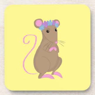 Ratón floral posavasos