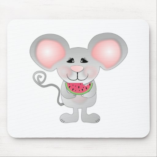 ratón gris adorable que sostiene la sandía tapetes de raton