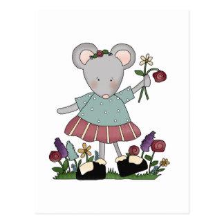 Ratón gris en camisetas y regalos del jardín de tarjetas postales