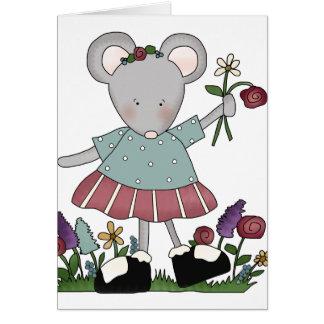 Ratón gris en jardín de flores tarjeta de felicitación