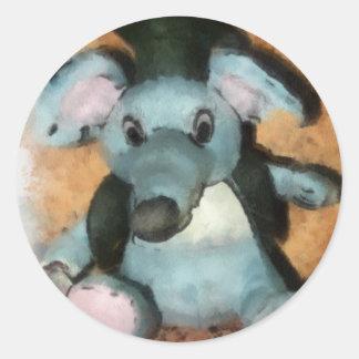 Ratón gris pegatina redonda