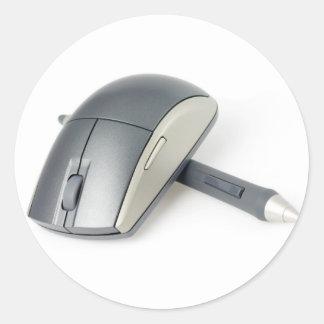 Ratón inalámbrico y pluma digital pegatina redonda
