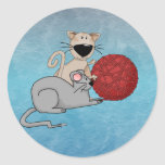 Ratón juguetón etiquetas redondas