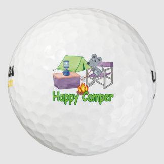 Ratón lindo del dibujo animado del campista pack de pelotas de golf