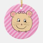 Ratón lindo del dibujo animado en rayas rosadas ornamentos para reyes magos