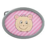 Ratón lindo del dibujo animado en rayas rosadas hebilla de cinturón oval