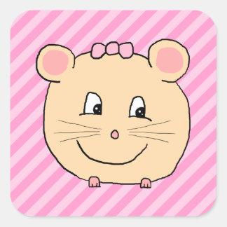Ratón lindo del dibujo animado en rayas rosadas pegatina cuadrada