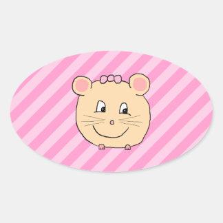 Ratón lindo del dibujo animado en rayas rosadas pegatina ovalada