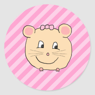 Ratón lindo del dibujo animado en rayas rosadas pegatina redonda