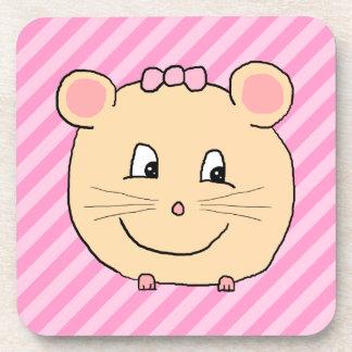 Ratón lindo del dibujo animado en rayas rosadas posavaso
