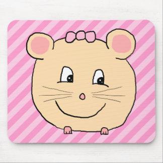 Ratón lindo del dibujo animado en rayas rosadas alfombrillas de ratones