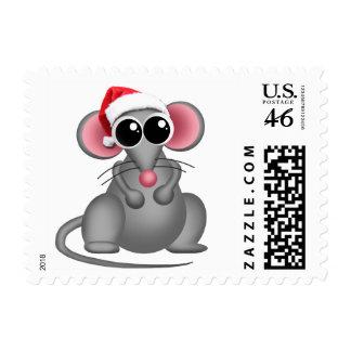 Ratón lindo del gorra de Santa - sellos