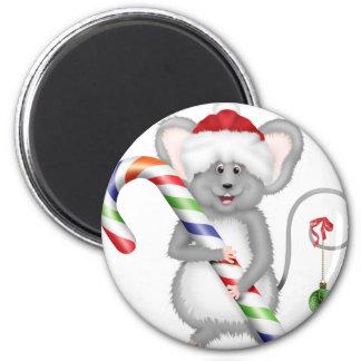 Ratón lindo del navidad con el gorra de Santa Imán Redondo 5 Cm